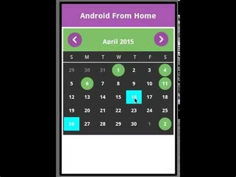 android studio calendar tutorial android calendar exle youtube
