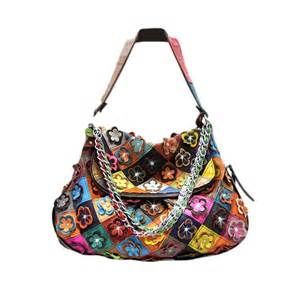 colorful purses genuine leather multi color flower oversized satchel purse