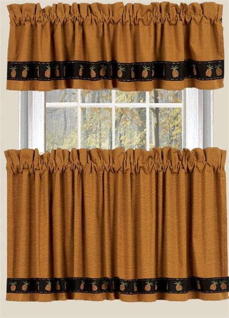 Country Valances Clearance pineapple welcome ocre mustard brown country curtain