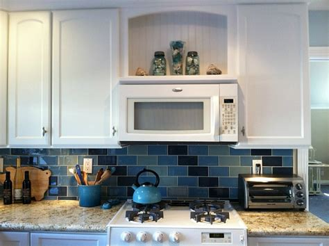 over the range microwave and open shelving kitchens lisa s kitchen with blue tile 2 hooked on houses