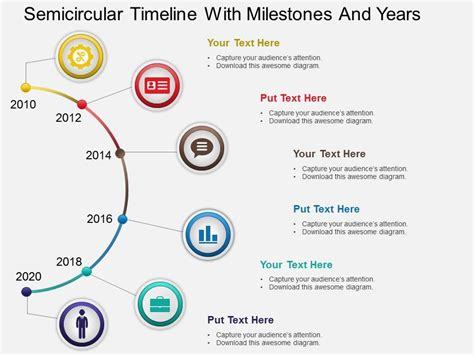 Hb Semicircular Timeline With Milestones And Years Powerpoint Template Powerpoint Slide Project Milestone Template Ppt