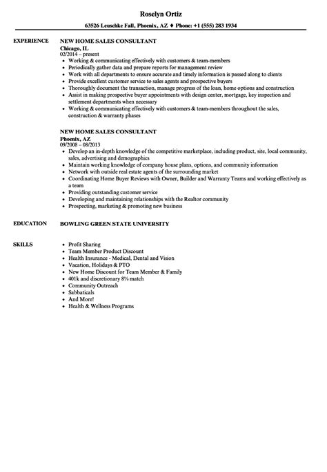 new home sales consultant resume sles velvet