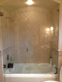 glass enclosed tub shower combo bathroom design