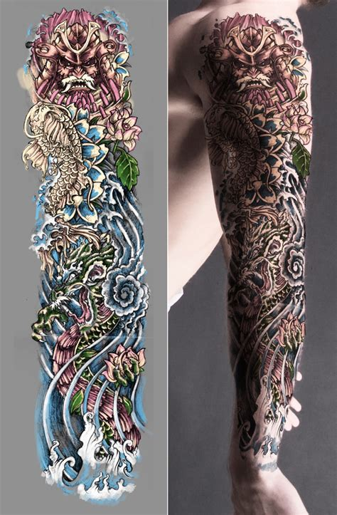 japanese art tattoo sleeve designs japanese sleeve colored by t3hspoon on deviantart