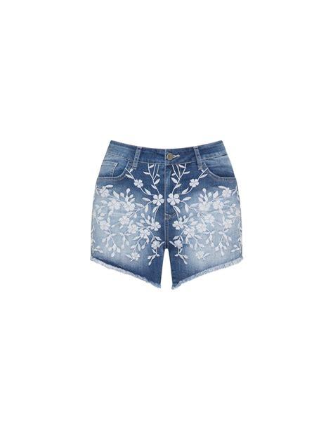 Embroidery Denim Shorts mat floral embroidery denim shorts navabi