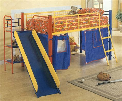 bunk beds for kids with slide furniture blue kids bunk beds designs with slide