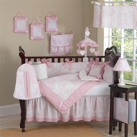 pink and white toile baby crib bedding 9pc