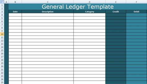 general ledger template the remaining columns are called