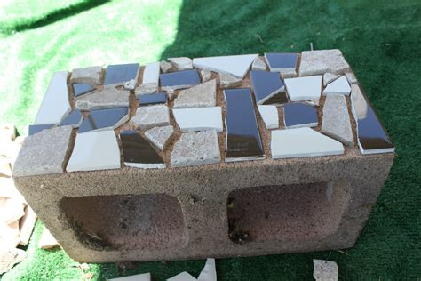 diy cinder block bench blue and white mosaic cinder