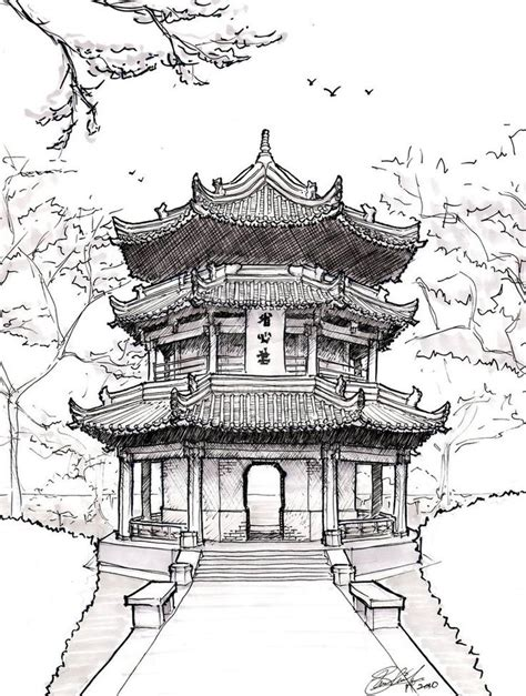 chinese house coloring page japanese tree house coloring for adults pinterest