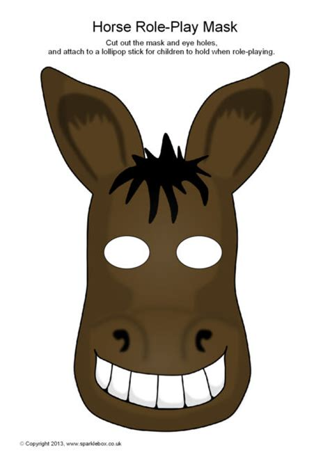 printable animal masks donkey horse role play masks sb9259 sparklebox