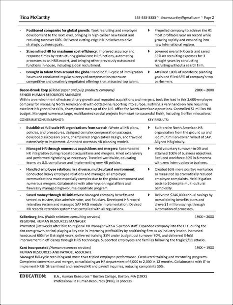 Exles Of Human Resources Resumes by Powerful Human Resources Resume Exle