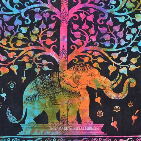 colorful tapestry tie dye colorful elephant tree tapestry wall hanging