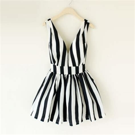 Dress Black White Stripes dress black and white striped dress skater dress black