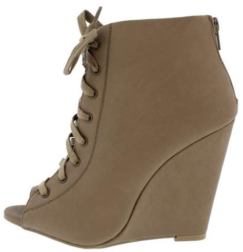 Boots Wedges 88 lorelei12a taupe open toe lace up wedge ankle boots from 12 88 27 88
