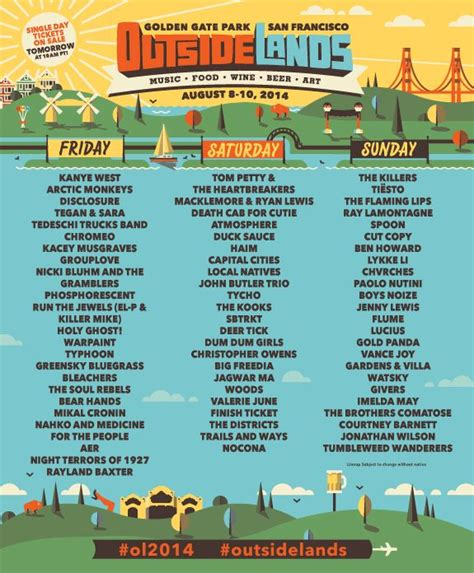 printable outside lands schedule 37 best 40 things to do images on pinterest workouts