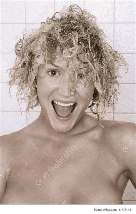 cutting wet hair in the shower cold after shower wet hair portrait stock image i1777145