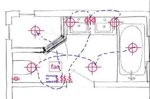 critique bathroom wiring plan roughing in today