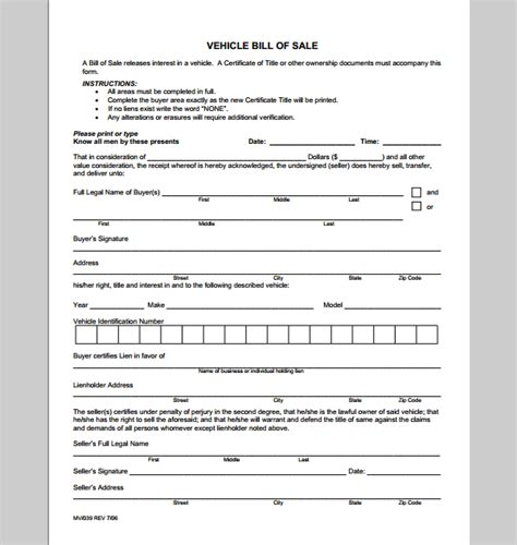 receipt template for vehicle sales sle of vehicle
