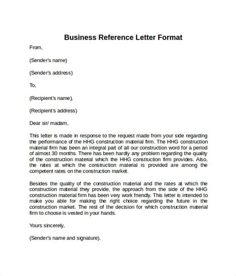 Business Letter Reference Business Reference Letter Format Exle Cover Letter