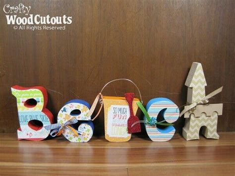 wood craft decoupage idea letters sign the happy