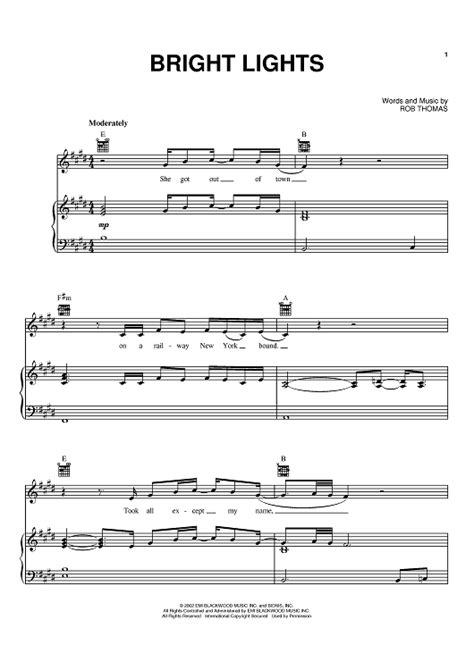 bright lights sheet for piano and more