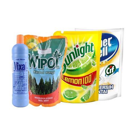 jual paket hemat rumah bersih 02 sunlight lemon 800 ml wipol karbol lemon 800 ml