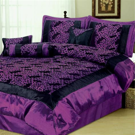 queen comforter set 7p leopard black purple comforter set queen new c15902 ebay