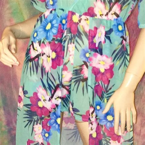 16 So Floral Turquoise Rompers 48 dresses skirts aqua turquoise tropical floral romper maxi dress from s