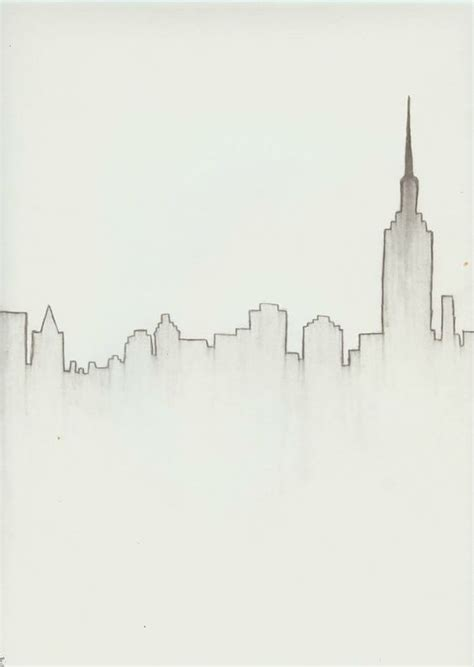 theme line simple new york city skyline download drawing ideas sketches