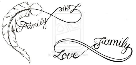 family love tattoo designs feather and family infinity symbol tattoos