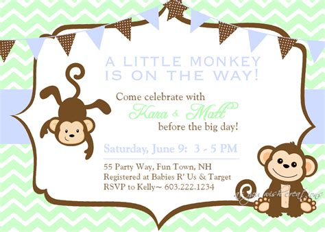 monkey baby shower invitation boy invitation monkey shower