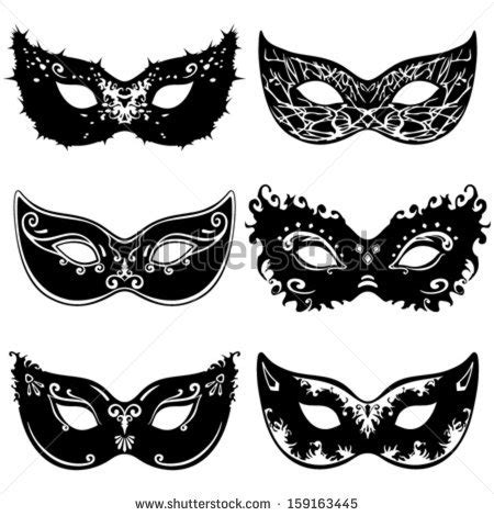 mask template vector six mask silhouettes stock vector masquerade party