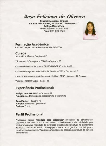 Modelo Curriculum Vitae No Brasil Curriculum