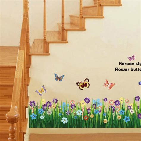 wallpaper for main wall butterfly grass flowers wall border easy to peel and