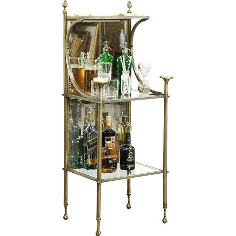 etagere bar antique 1900 brass onyx etagere curio bar or