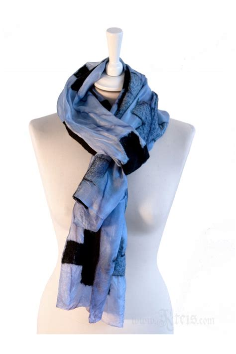 Metallic Nuno Felt Silk Scarf with Black Wool Crosses 1 800 Contacts Review