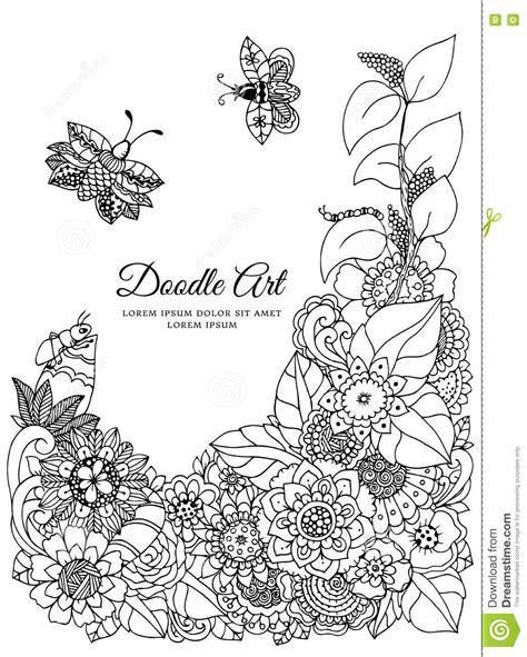 doodle drawing exercises vector illustration zentangl floral frame doodle drawing