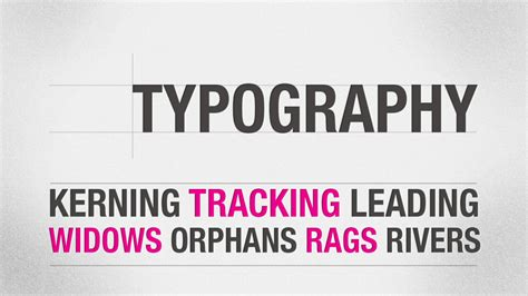 typography widow kerning leading tracking widows orphans rags and rivers this design
