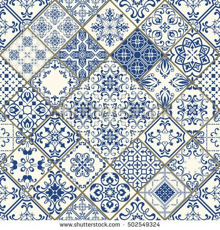 pattern pattern in spanish seamless patchwork tile blue white colors stock vector