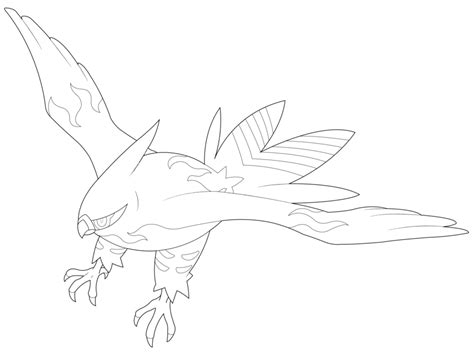 pokemon coloring pages talonflame lineart talonflame by dlynk on deviantart