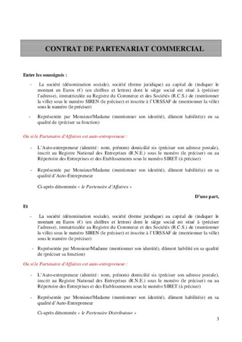 Demande De Partenariat Lettre Modele Modele Entente De Partenariat 224 T 233 L 233 Charger
