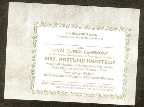 Burial Invitation Card