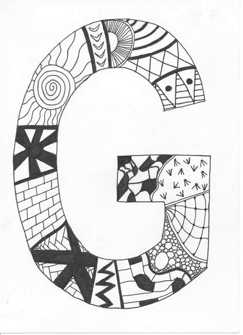 G Drawing Design by Great Simple Anyone Can Do Zentangle Doodle