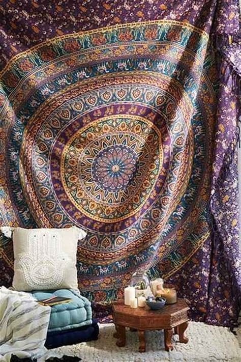 home d 233 cor essentials by urban outfitters glitter magazine magical thinking turquoise elephant medallion tapestry