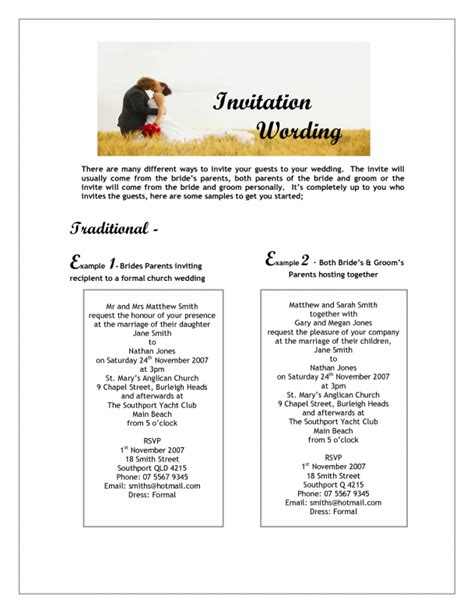 Wedding Invitation Wording From And Groom