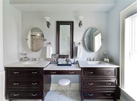 furniture single sink vanity with makeup area of