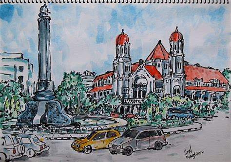 sketchbook cat air lekgun gdung lawang sewu