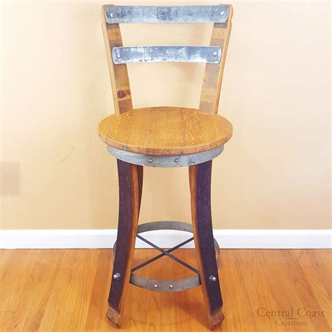 Wine Barrel Stools With Back by Wine Barrel Stool W Backrest Swivel Top Specify 24 Quot 26