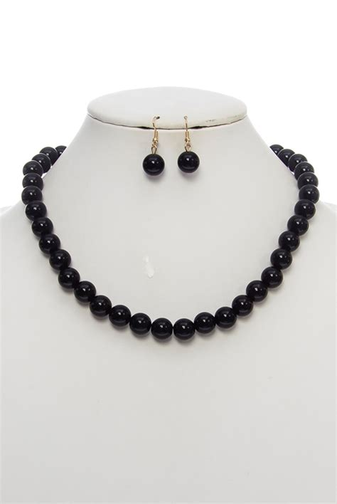 big black bead necklace big bead necklace and earring set agp